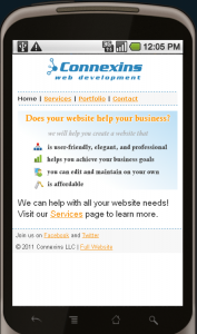 A screenshot of the Connexins.mobi mobile website